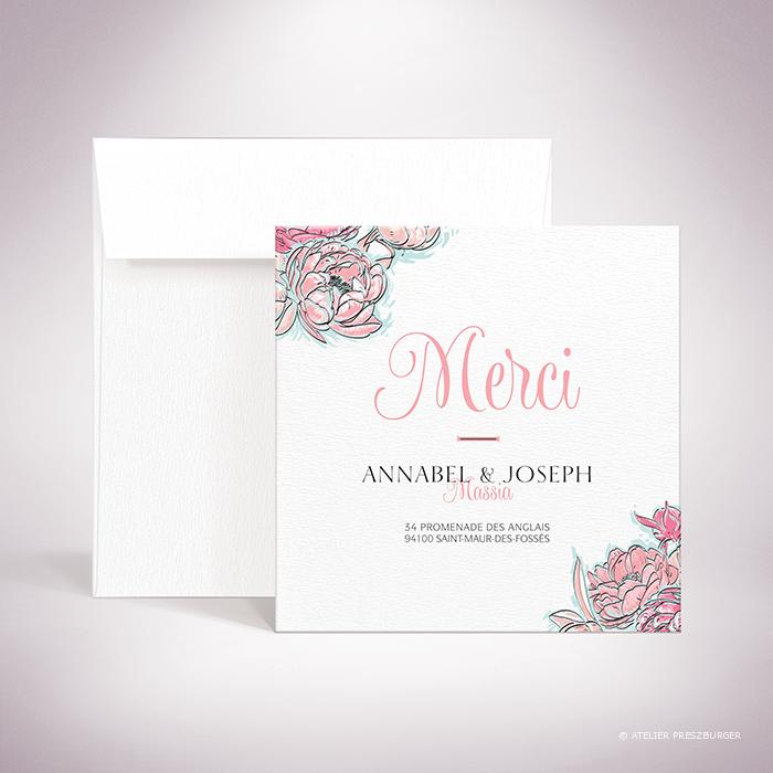 Laroque – Carte de remerciement de mariage de style floral, sur le thème du printemps, illustrée de pivoines par Julien Preszburger – Photo non contractuelle