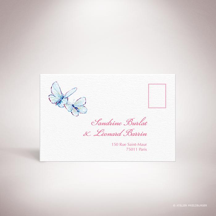 Burlat – Carton réponse de mariage de style bucolique, sur le thème du printemps, illustré de fleurs de cerisier et de papillons à l'aquarelle par Julien Preszburger – Photo non contractuelle