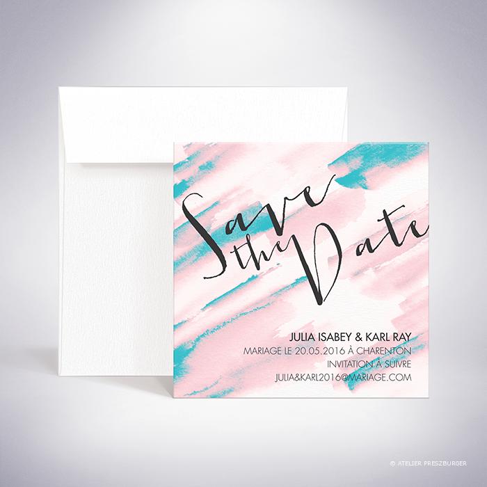Isabey – Carte « save the date » de mariage contemporain de style abstrait à l'aquarelle par Julien Preszburger – Photo non contractuelle
