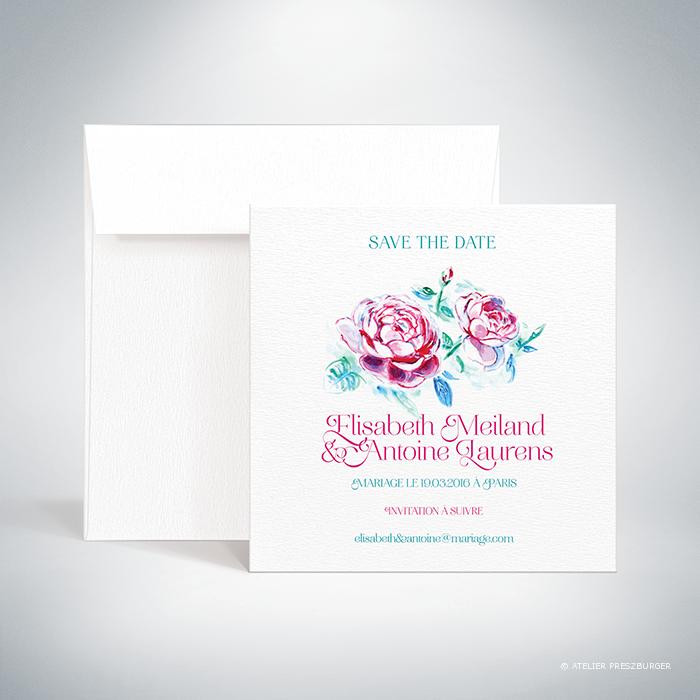 Méiland –  Carte save the date de mariage de style romantique, sur le thème des roses, illustrée à l'aquarelle par Julien Preszburger – Photo non contractuelle