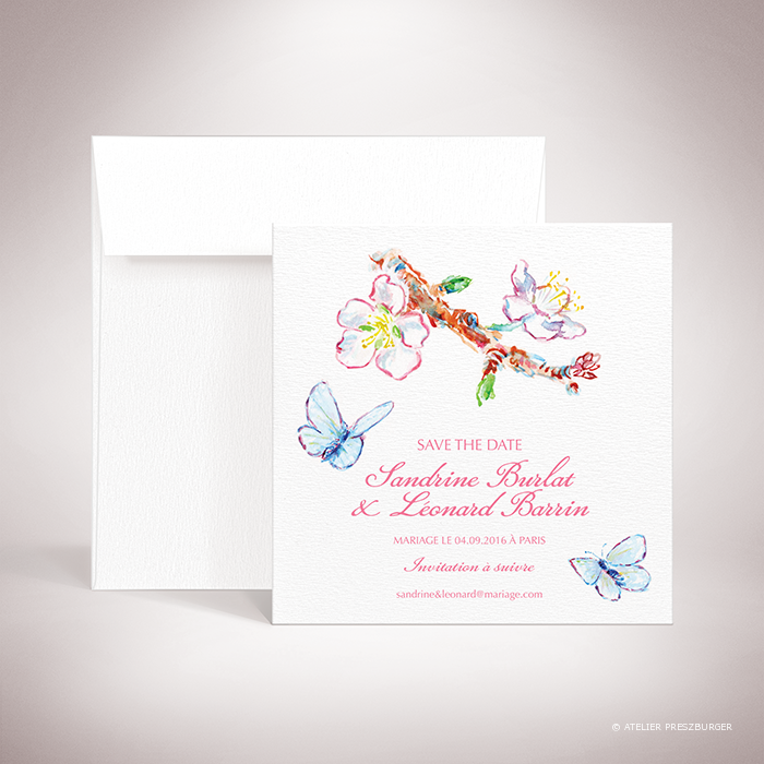 Burlat – Carte « save the date » de mariage de style bucolique, sur le thème du printemps, illustré de fleurs de cerisier et de papillons à l'aquarelle par Julien Preszburger – Photo non contractuelle