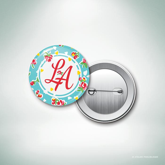 Bell – Badge de mariage de style vintage sur le thème des fleurs, illustré d'un motif de roses par Julien Preszburger – Photo non contractuelle