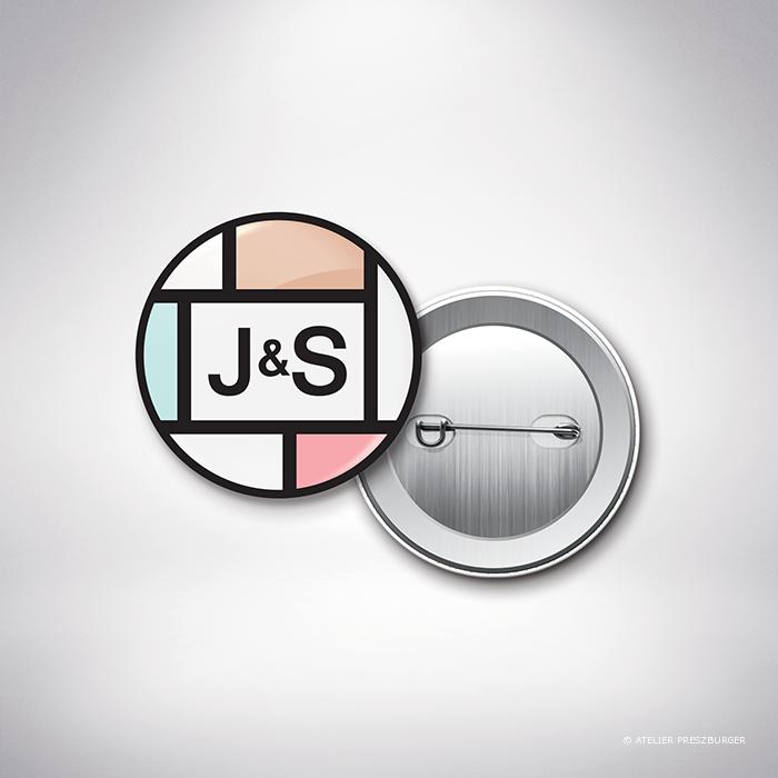 Mondrian – Badge de mariage contemporain de style abstrait, inspiré du peintre Piet Mondrian, par Julien Preszburger – Photo non contractuelle