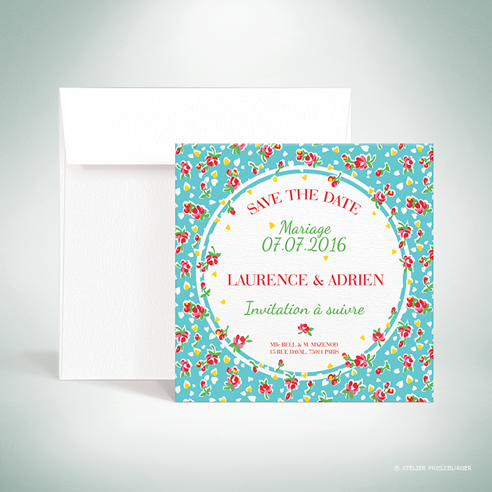 """Bell – Carte """"save the date"""" de mariage de style vintage sur le thème des fleurs, illustrée d'un motif de roses par Julien Preszburger – Photo non contractuelle"""