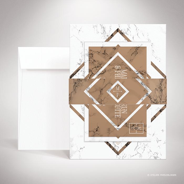 """Lebrun – Bande de maintien """"belly band"""" de mariage contemporain de style géométrique sur le thème du marbre par Julien Preszburger – Photo non contractuelle"""