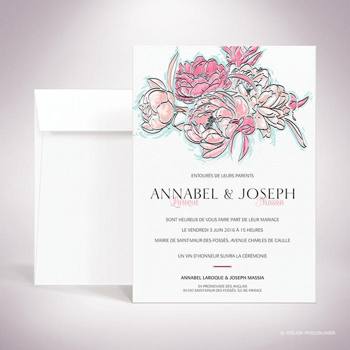 Laroque – Faire-part de mariage de style floral, sur le thème du printemps, illustré de pivoines par Julien Preszburger – Photo non contractuelle