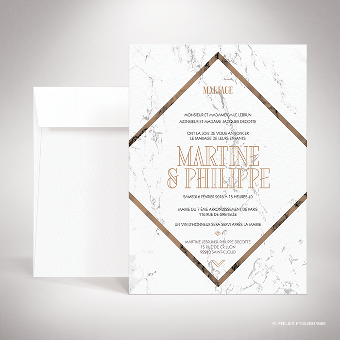 Lebrun – Faire-part de mariage contemporain de style géométrique sur le thème du marbre par Julien Preszburger – Photo non contractuelle