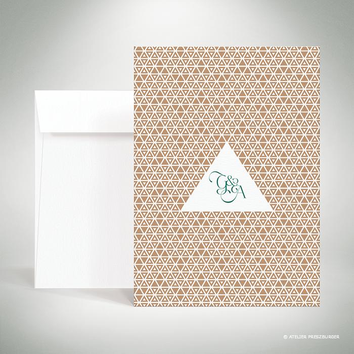 Bucy – Faire-part recto/verso de mariage contemporain de style graphique et géométrique par Julien Preszburger – Photo non contractuelle