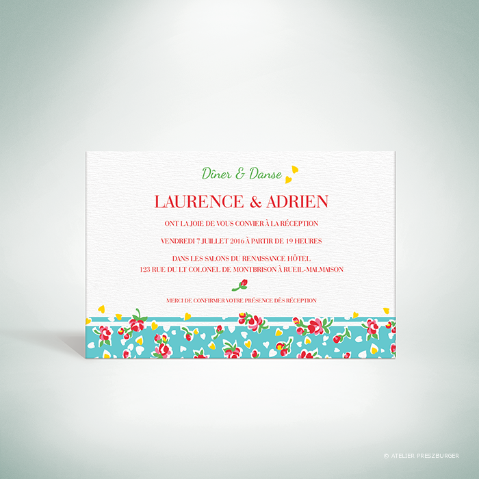 Bell – Carton invitation de mariage de style vintage sur le thème des fleurs, illustré d'un motif de roses par Julien Preszburger – Photo non contractuelle