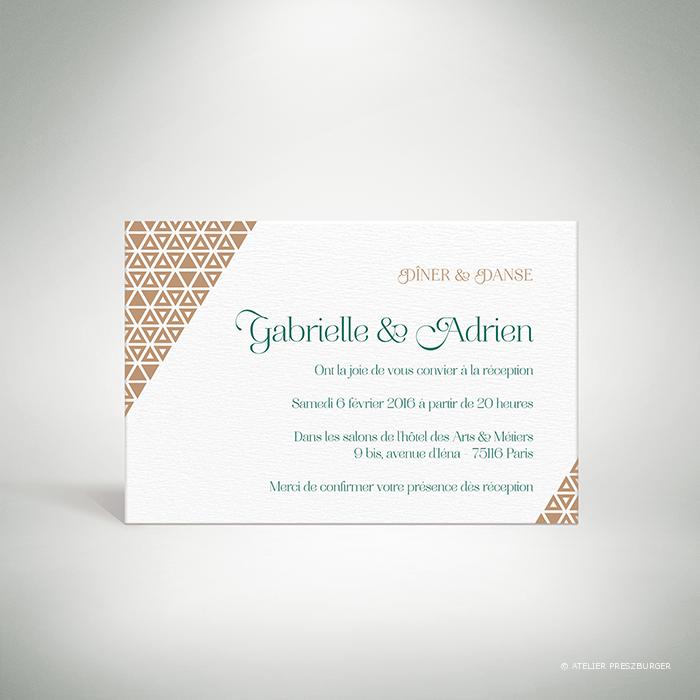 Bucy – Carton invitation de mariage contemporain de style graphique et géométrique par Julien Preszburger – Photo non contractuelle