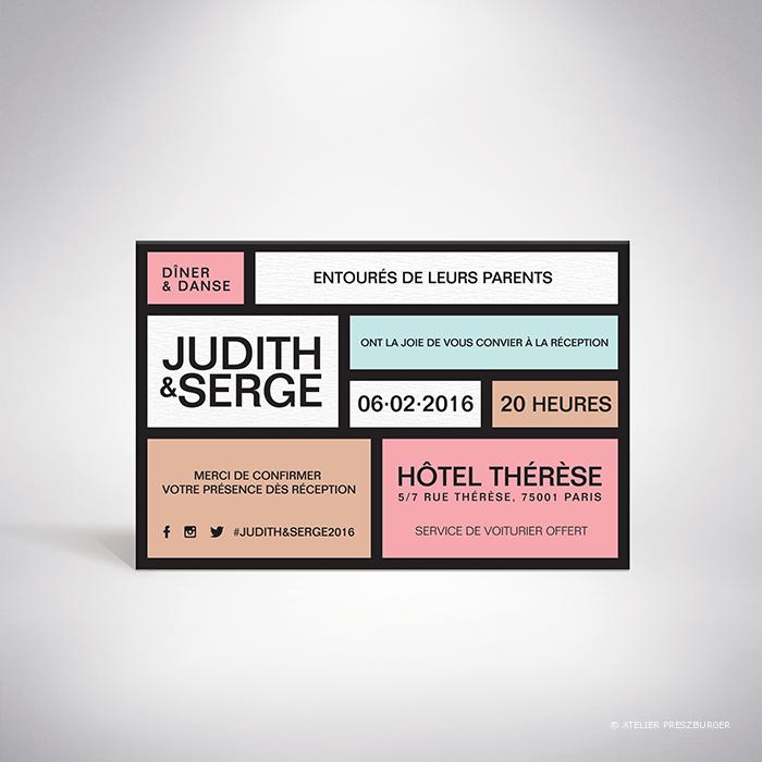 Mondrian – Carton invitation de mariage contemporain de style abstrait, inspiré du peintre Piet Mondrian, par Julien Preszburger – Photo non contractuelle