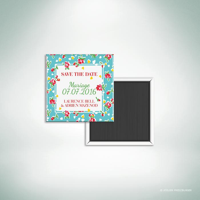 """Bell – Magnet """"save the date"""" de mariage de style vintage sur le thème des fleurs, illustré d'un motif de roses par Julien Preszburger – Photo non contractuelle"""