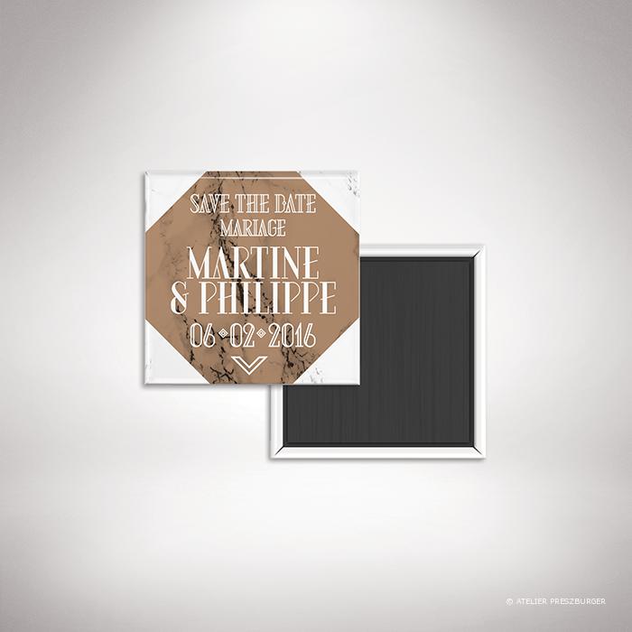 """Lebrun – Magnet """"save the date"""" de mariage contemporain de style géométrique sur le thème du marbre par Julien Preszburger – Photo non contractuelle"""