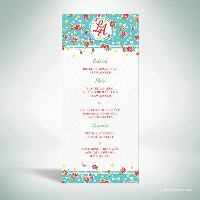 Bell – Menu de mariage de mariage de style vintage sur le thème des fleurs, illustré d'un motif de roses par Julien Preszburger – Photo non contractuelle