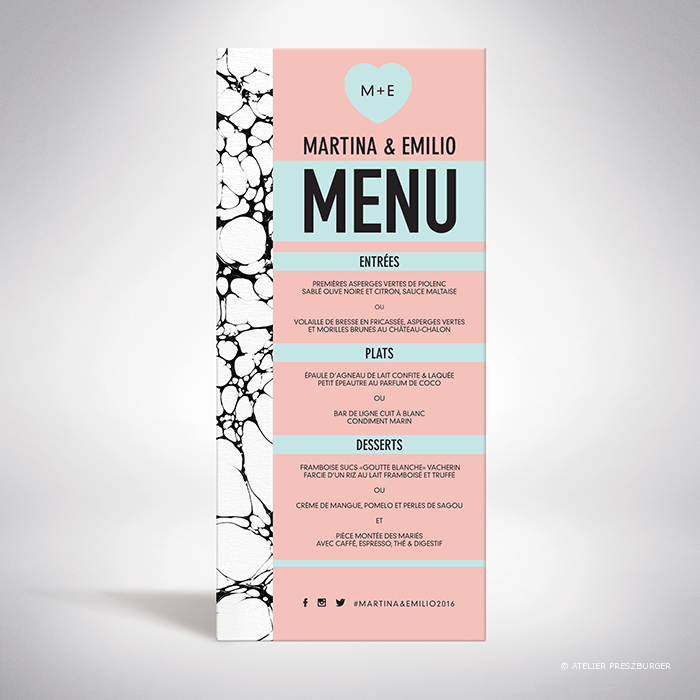 Carrare – Menu de mariage contemporain de style abstrait par Julien Preszburger – Photo non contractuelle