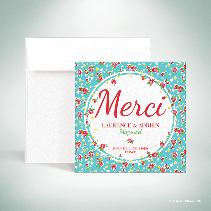 Bell – Carte de remerciement de mariage de style vintage sur le thème des fleurs, illustrée d'un motif de roses par Julien Preszburger – Photo non contractuelle