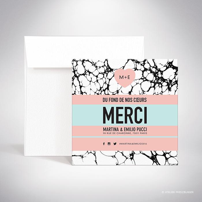 Carrare – Carte de remerciement de mariage contemporain de style abstrait par Julien Preszburger – Photo non contractuelle