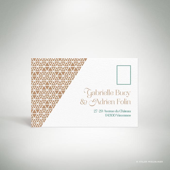 Bucy – Carton réponse de mariage contemporain de style graphique et géométrique par Julien Preszburger – Photo non contractuelle