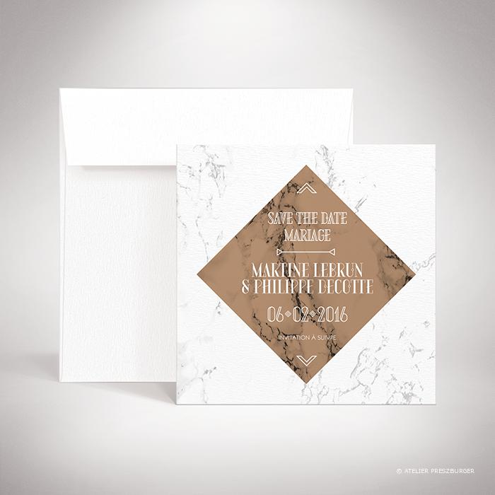 """Lebrun – Carte """"save the date"""" de mariage contemporain de style géométrique sur le thème du marbre par Julien Preszburger – Photo non contractuelle"""