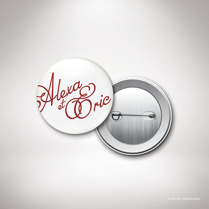 Ortolli – Badge de mariage classique de style calligraphique par Julien Preszburger – Photo non contractuelle