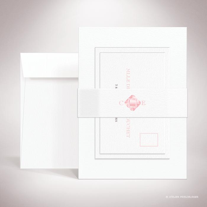 Dionis – Bande de maintien « belly band » de mariage sur le thème des pierres précieuses, illustrée d'un diamant rose par Julien Preszburger – Photo non contractuelle