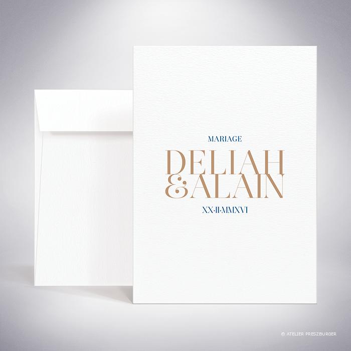 Launay – Faire-part recto/verso de mariage classique typographique par Julien Preszburger – Photo non contractuelle
