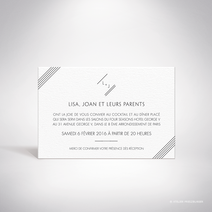 Dumont – Carton invitation de mariage contemporain de style typographique par Julien Preszburger – Photo non contractuelle