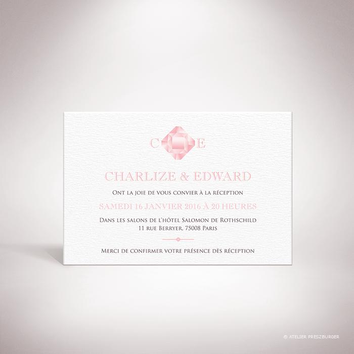 Dionis – Carton invitation de mariage sur le thème des pierres précieuses, illustré d'un diamant rose par Julien Preszburger – Photo non contractuelle