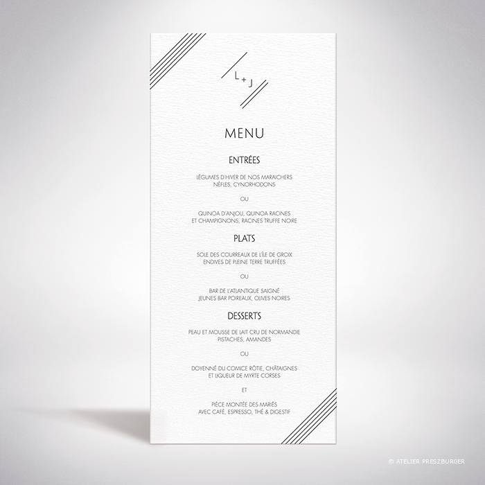 Dumont – Menu de mariage contemporain de style typographique par Julien Preszburger – Photo non contractuelle