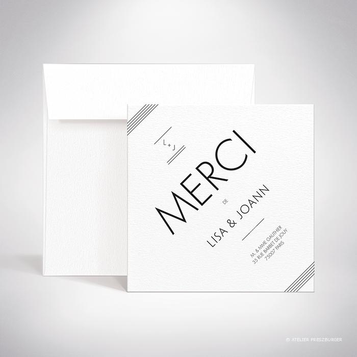 Dumont – Carte de remerciement de mariage contemporain de style typographique par Julien Preszburger – Photo non contractuelle