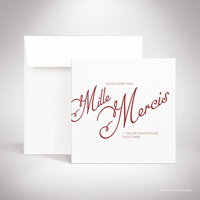 Ortolli – Carte de remerciement de mariage classique de style calligraphique par Julien Preszburger – Photo non contractuelle