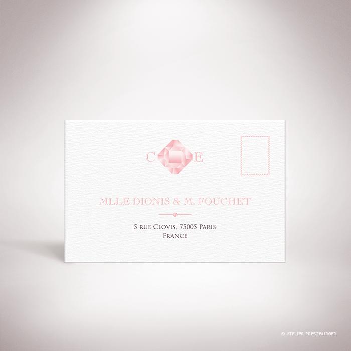 Dionis –  Carton réponse de mariage sur le thème des pierres précieuses, illustré d'un diamant rose par Julien Preszburger- Photo non contractuelle
