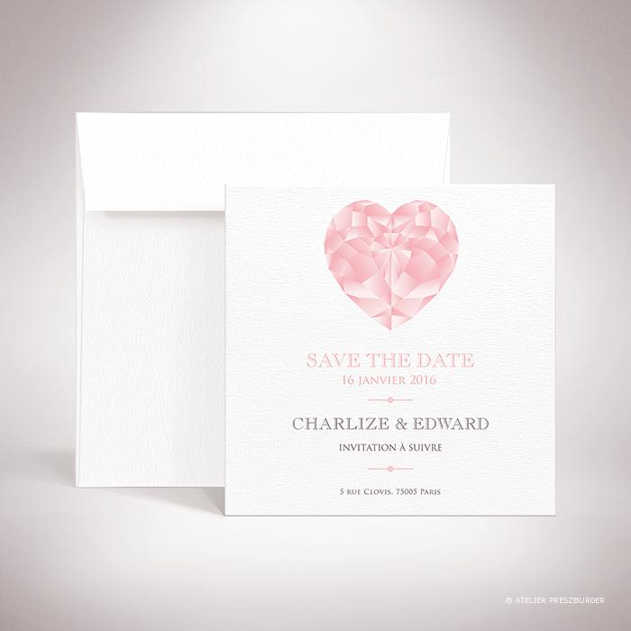 Dionis – Carte save the date de mariage sur le thème des pierres précieuses, illustrée d'un diamant rose par Julien Preszburger – Photo non contractuelle