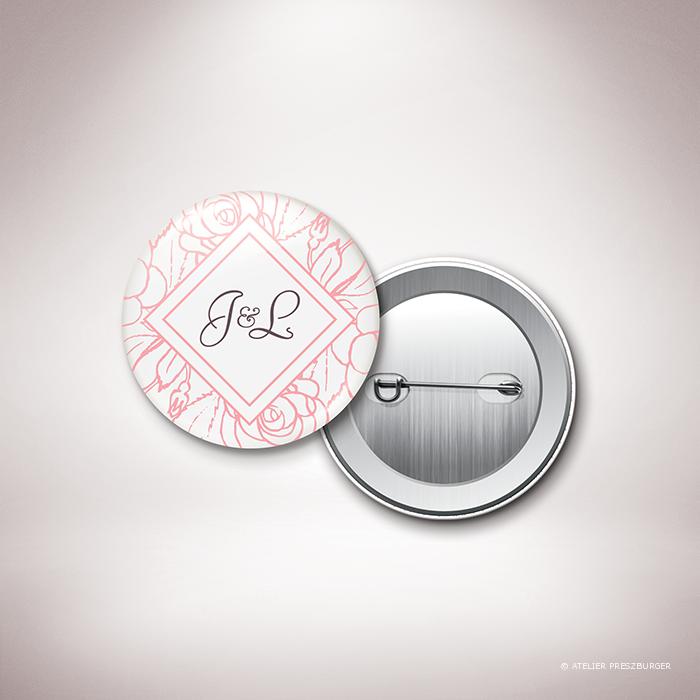 Ronsard – Badge de mariage sur le thème de la nature et des fleurs, illustré de roses par Julien Preszburger – Photo non contractuelle