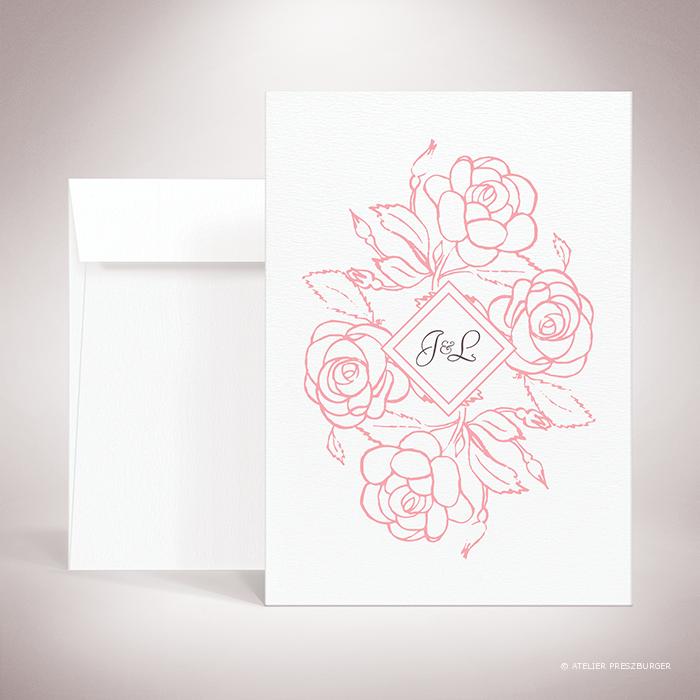 Ronsard – Faire-part de mariage sur le thème de la nature et des fleurs, illustré de roses par Julien Preszburger – Photo non contractuelle
