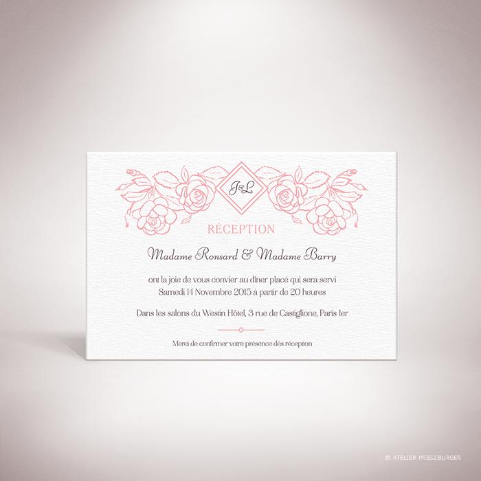 Ronsard – Carton invitation de mariage sur le thème de la nature et des fleurs, illustré de roses par Julien Preszburger – Photo non contractuelle