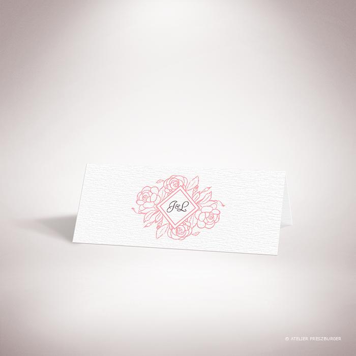 Ronsard – Marque place de mariage sur le thème de la nature et des fleurs, illustré de roses par Julien Preszburger – Photo non contractuelle