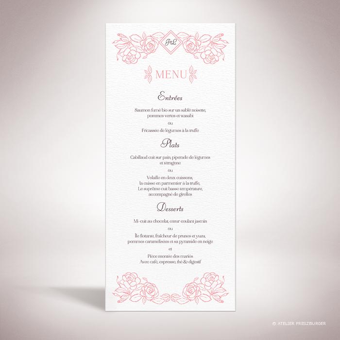 Ronsard – Menu de mariage sur le thème de la nature et des fleurs, illustré de roses par Julien Preszburger – Photo non contractuelle