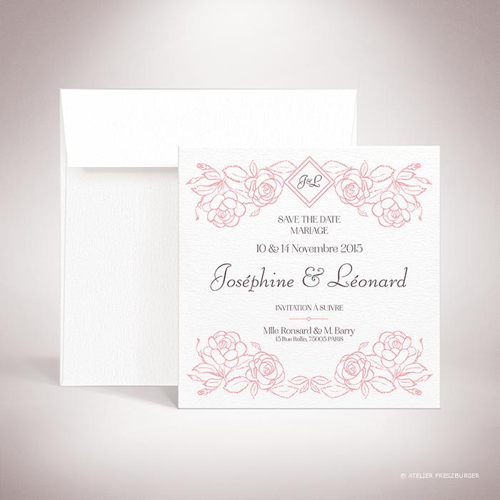 Ronsard – Carte « save the date » de mariage sur le thème de la nature et des fleurs, illustrée de roses par Julien Preszburger – Photo non contractuelle
