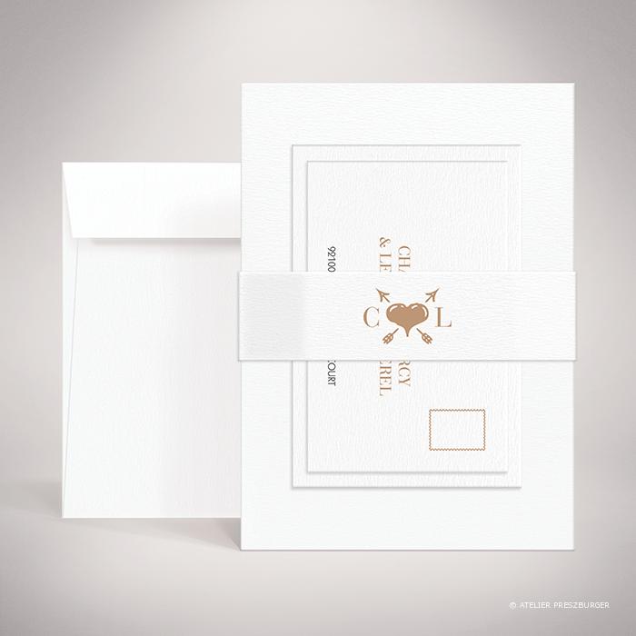 Arcy – Bande de maintien « belly band » de mariage dans un style contemporain, illustrée d'un cœur et de deux d'initiales par Julien Preszburger – Photo non contractuelle
