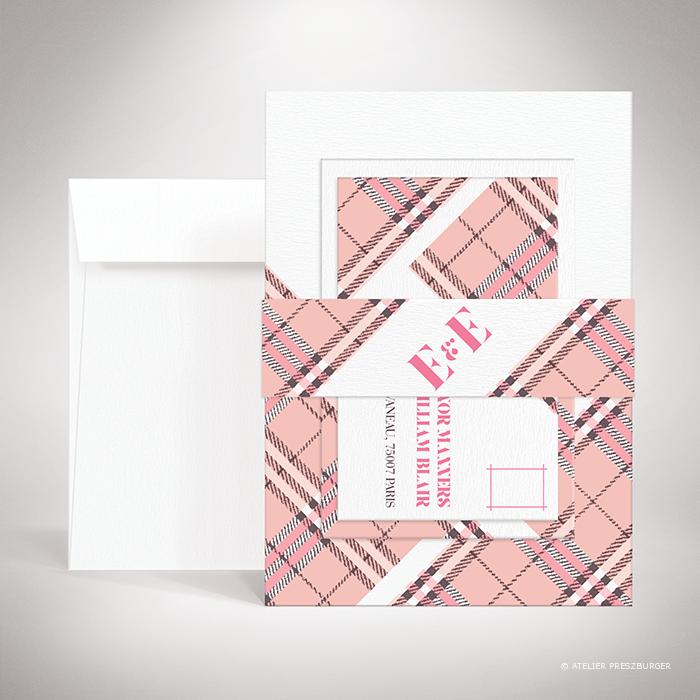 """Manners – Bande de maintien """"belly band"""" de mariage dans un style contemporain, illustrée d'un tartan anglais par Julien Preszburger – Photo non contractuelle"""