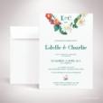 Batz – Faire-part de mariage de style floral, sur le thème des roses sauvages, illustré par Julien Preszburger – Photo non contractuelle