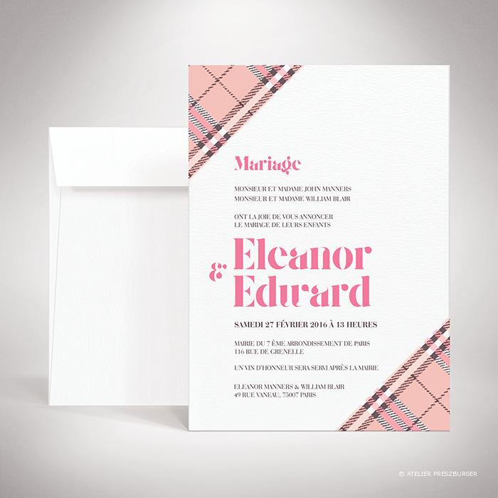 Manners – Faire-part de mariage dans un style contemporain, illustré d'un tartan anglais par Julien Preszburger – Photo non contractuelle