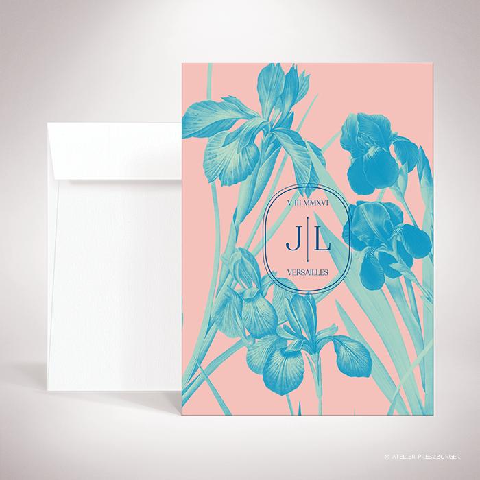 Feray – Faire-part verso Feray de la collection mariage sur le thème des fleurs, illustré d'Iris par Julien Preszburger – Photo non contractuelle