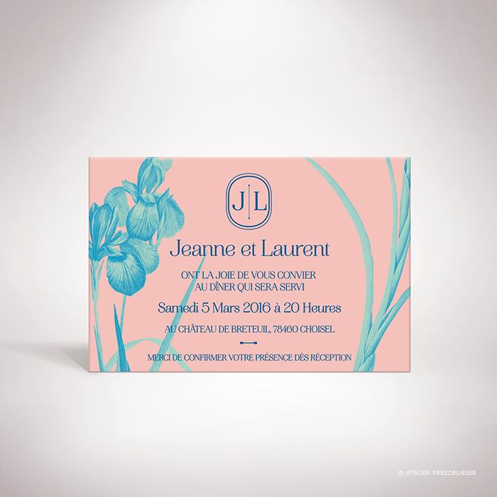 Feray – Carton invitation Feray de la collection mariage sur le thème des fleurs, illustré d'Iris par Julien Preszburger – Photo non contractuelle
