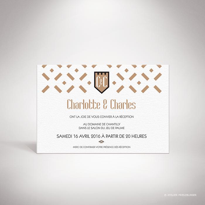 Gondy – Carton invitation de mariage contemporain de style royal par Julien Preszburger – Photo non contractuelle