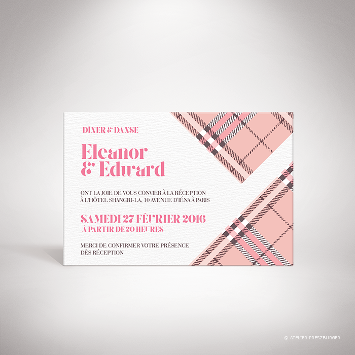 Manners -Carton invitation de mariage dans un style contemporain, illustré d'un tartan anglais par Julien Preszburger – Photo non contractuelle