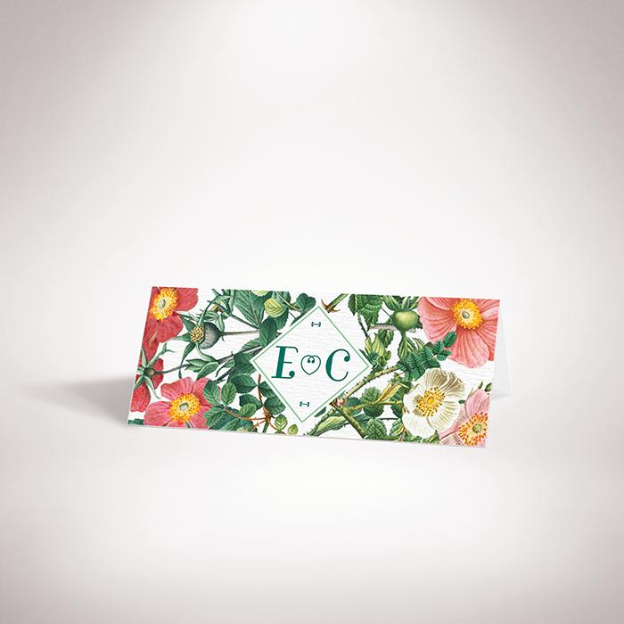 Batz – Marque place de mariage de style floral, sur le thème des roses sauvages, illustré par Julien Preszburger – Photo non contractuelle