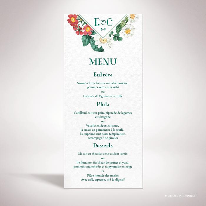 Batz – Menu de mariage de style floral, sur le thème des roses sauvages, illustré par Julien Preszburger – Photo non contractuelle
