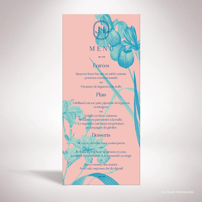 Feray – Menu Feray de la collection mariage sur le thème des fleurs, illustré d'Iris par Julien Preszburger – Photo non contractuelle